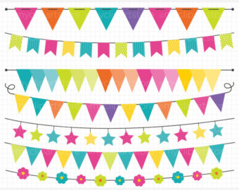 Bunting Banner Clipart. Scrapbook printable, Rainbow banners for.