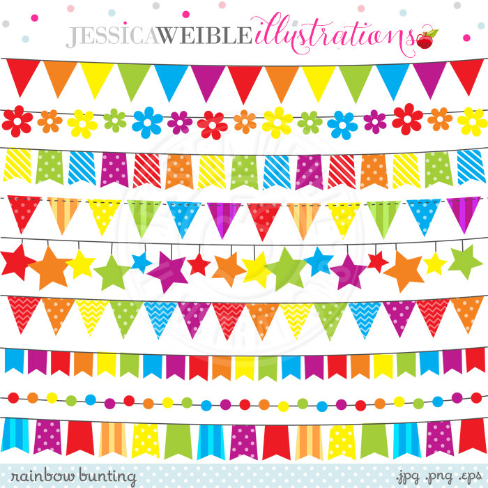 Rainbow Bunting Cute Digital Clipart for Commercial or Personal.