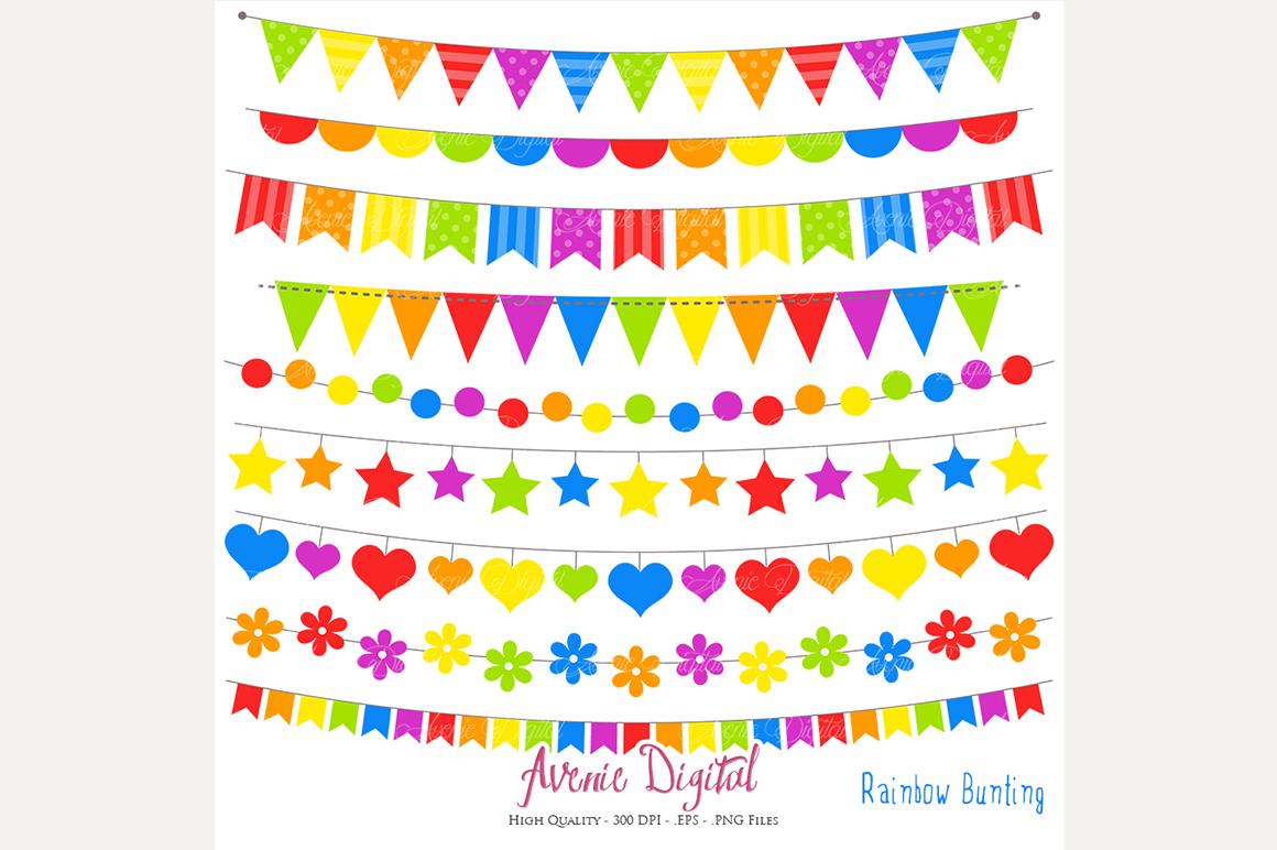 Rainbow Bunting Banner Clipart by AvenieDigital.