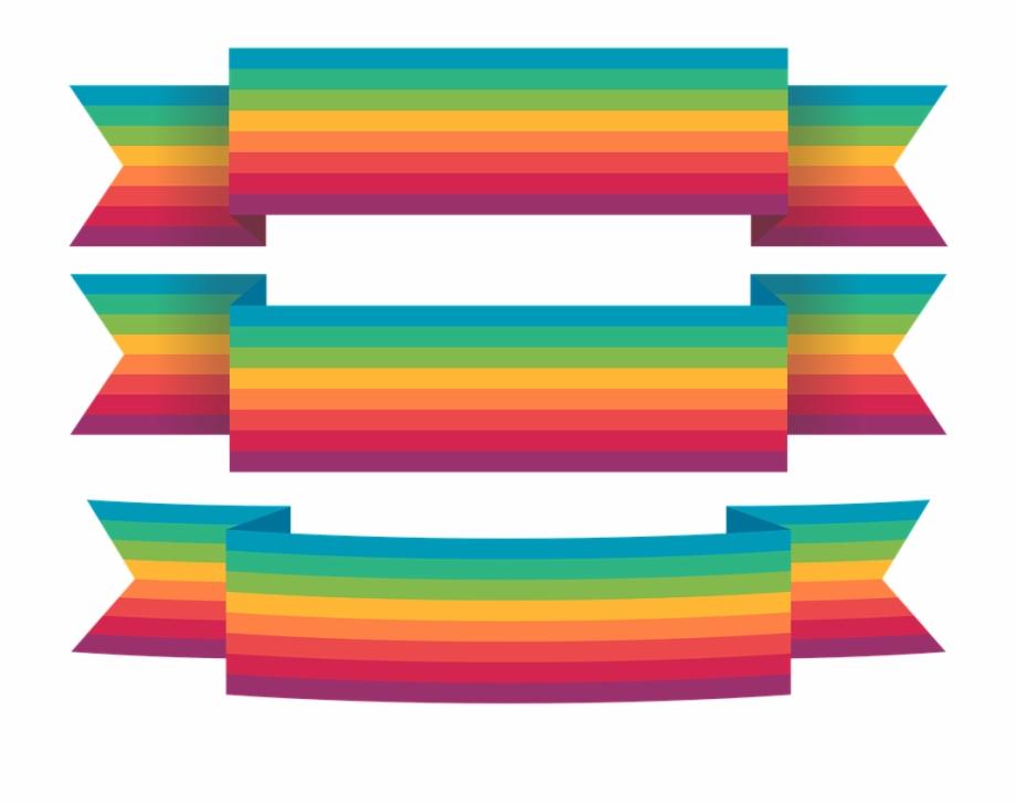 Ribbon Colorful Rainbow Design Decoration Banner.