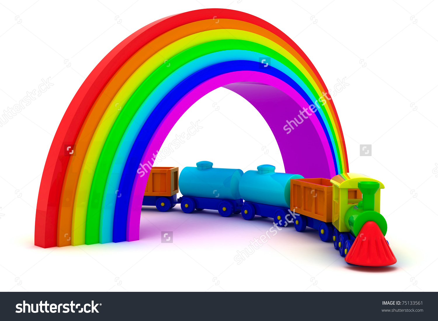 Toy Train Under Rainbow Bridge Stock Illustration 75133561.