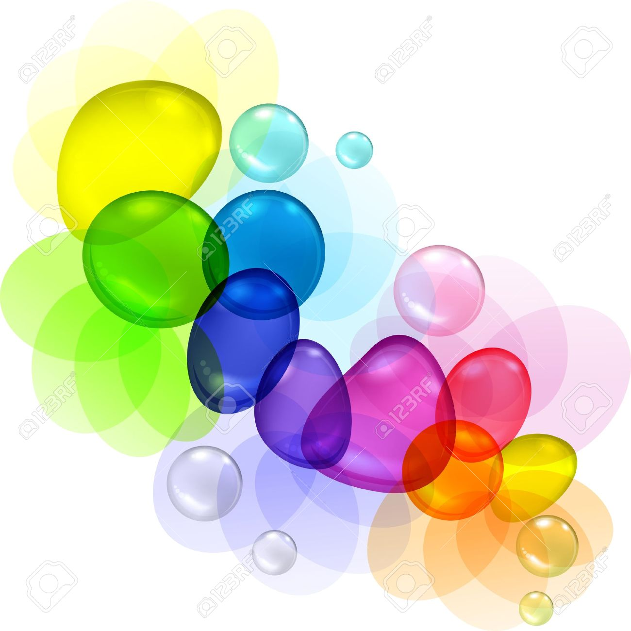 Color Abstract With Transparent Bubbles And Drops Royalty Free.