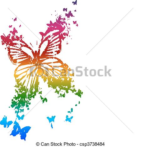 EPS Vector of butterfly in rainbow style csp3738484.