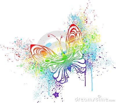 Rainbow Butterfly Royalty Free Stock Photos.