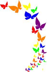 Rainbow Butterfly Clip Art.