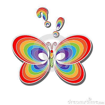 Rainbow Butterfly Multiple Clipart.