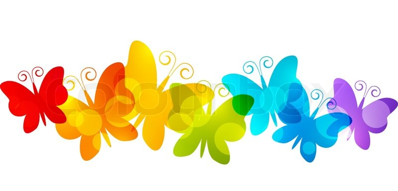 Rainbow butterflies border for Your design.