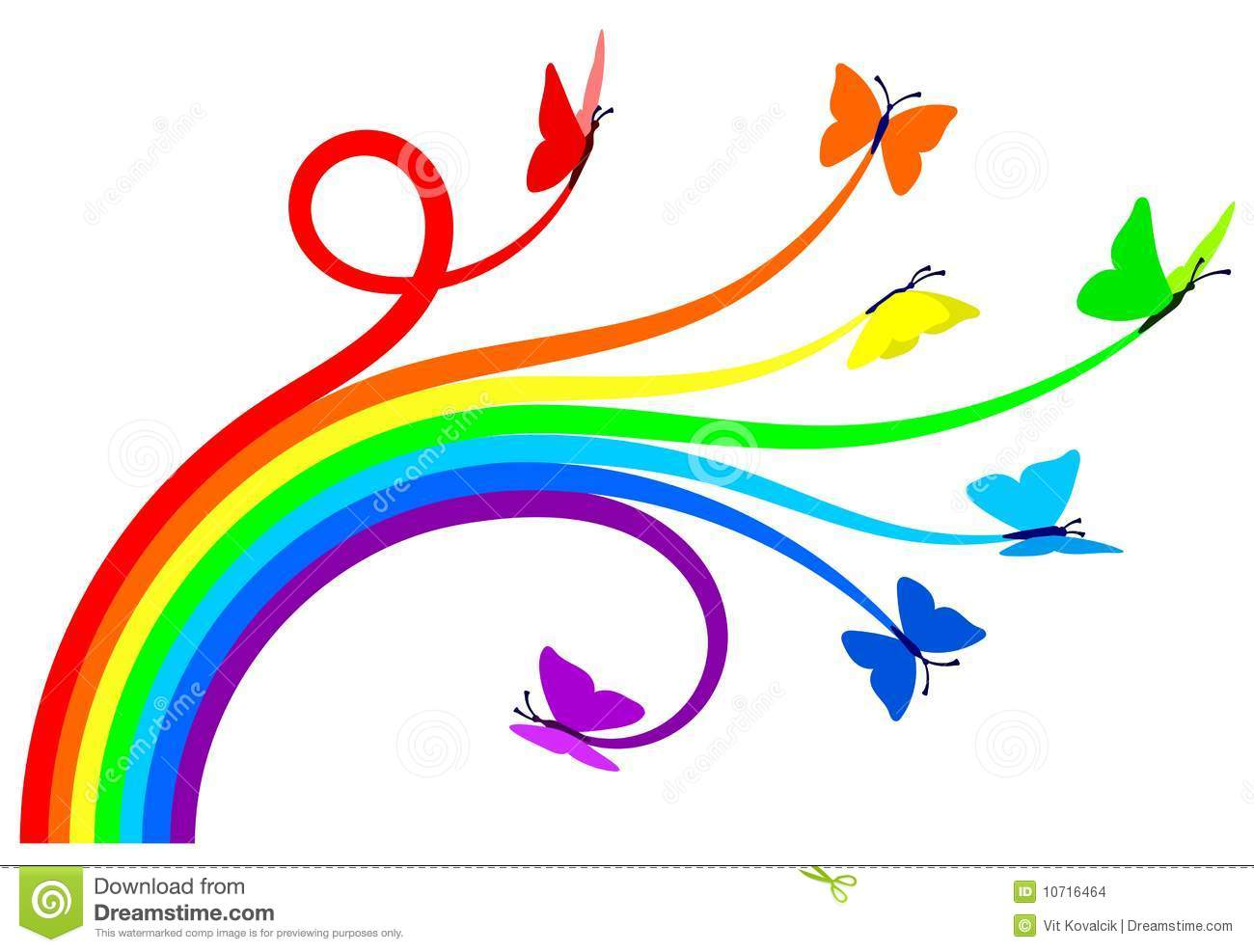 Rainbow Butterflies Round Border Frame Royalty Free Stock Photo.