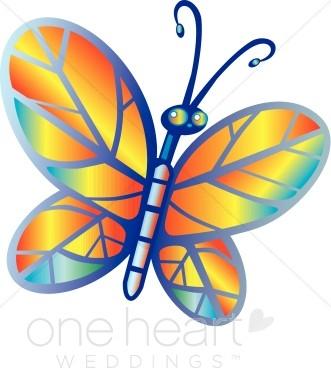 Rainbow Butterfly Clipart Border.