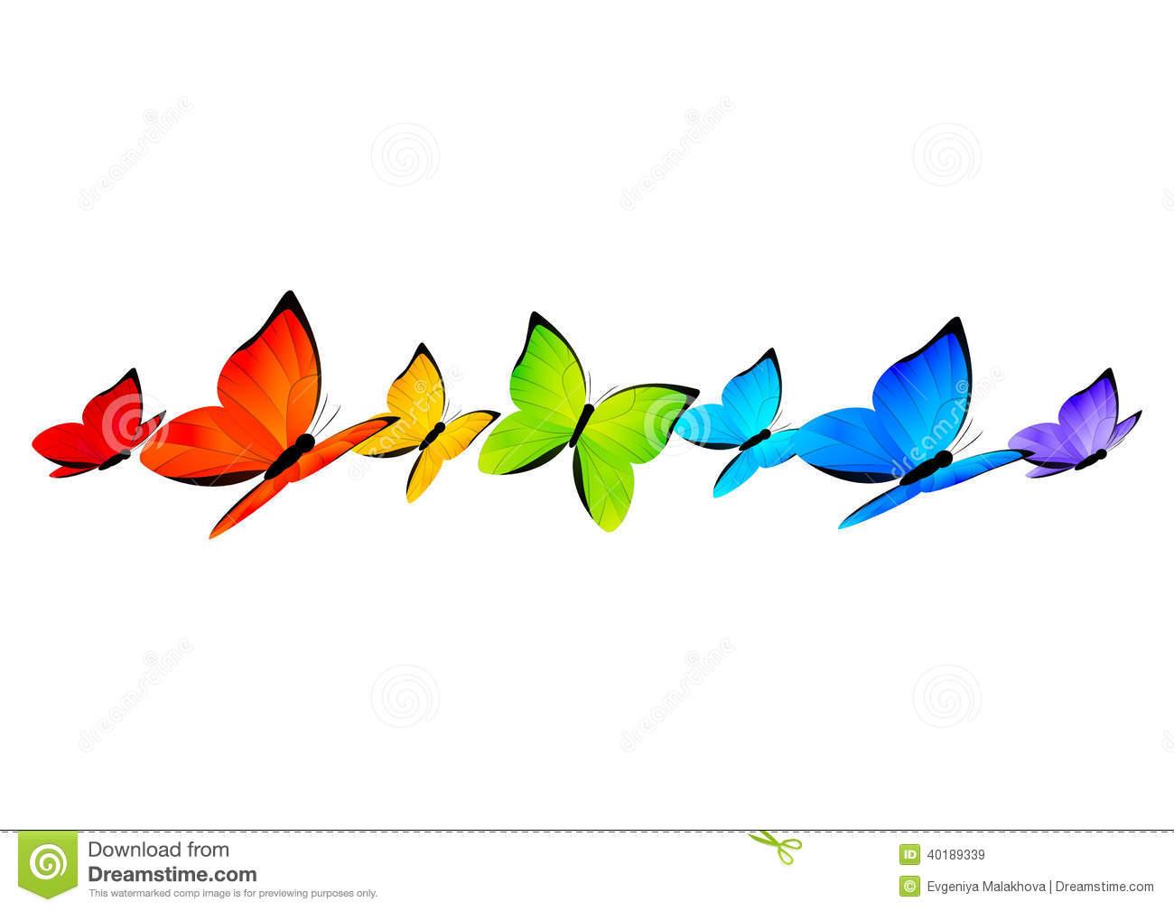 Rainbow Butterflies Border For Your Design 4 Stock Vector.