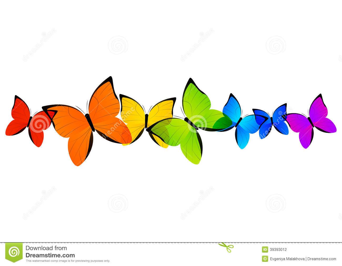 Rainbow Butterflies Border Stock Vector.