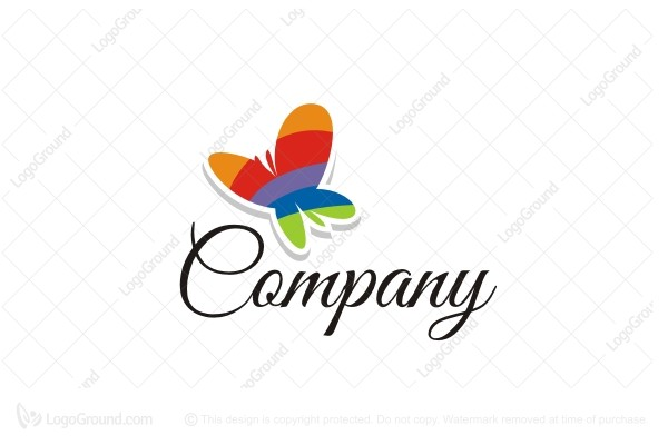 Exclusive Logo 11183, Rainbow Butterfly Logo.