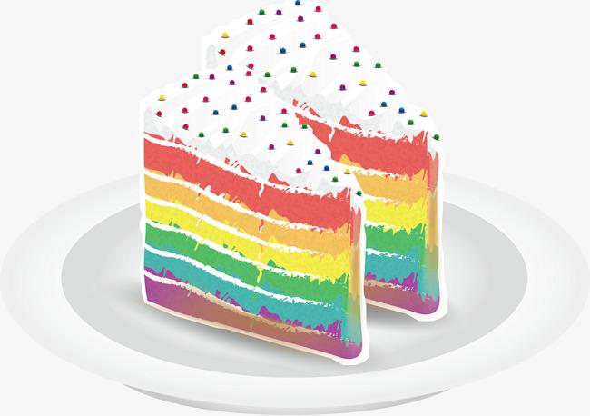 A Rainbow Cake, Rainbow Vector, Cake Vec #95910.