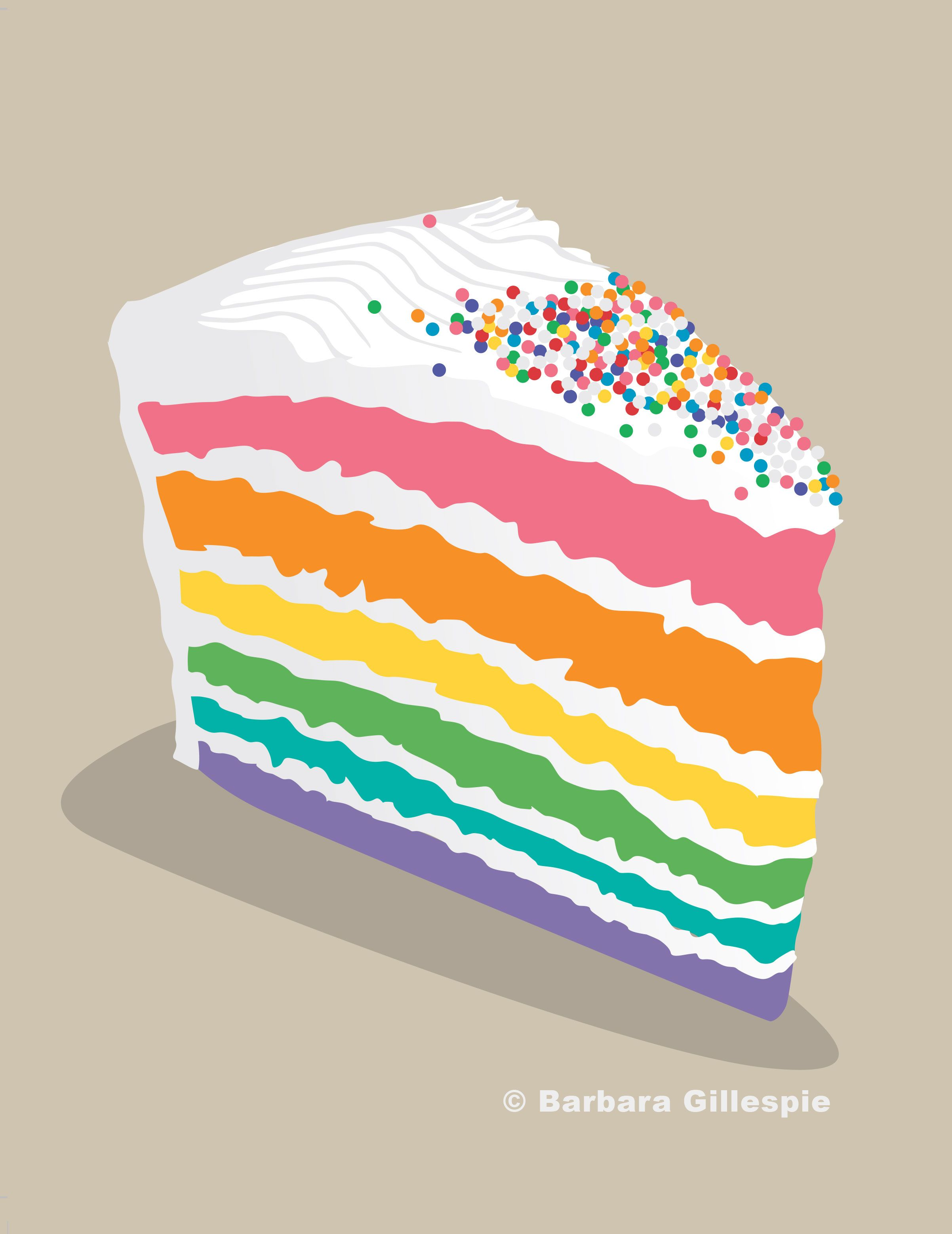Rainbow Cake Print / Piece of Cake Print / Cake Art Print.