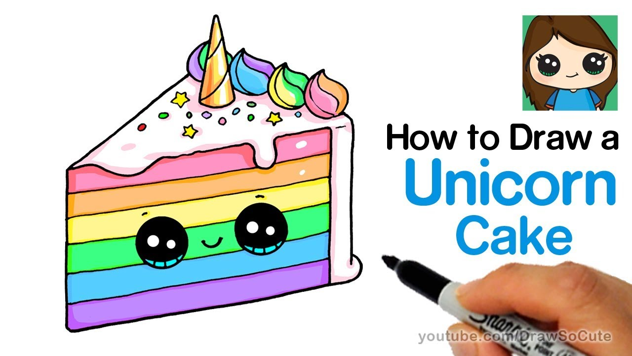 How to Draw a Unicorn Rainbow Cake Slice Easy and Cute.