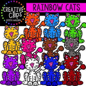 Rainbow Cat Clipart {Creative Clips Clipart}.