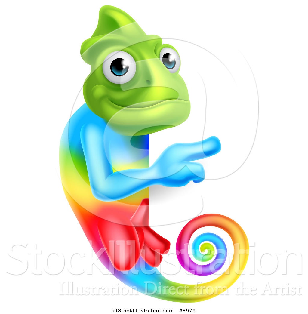 Vector Illustration of a Rainbow Chameleon Lizard Pointing Around.