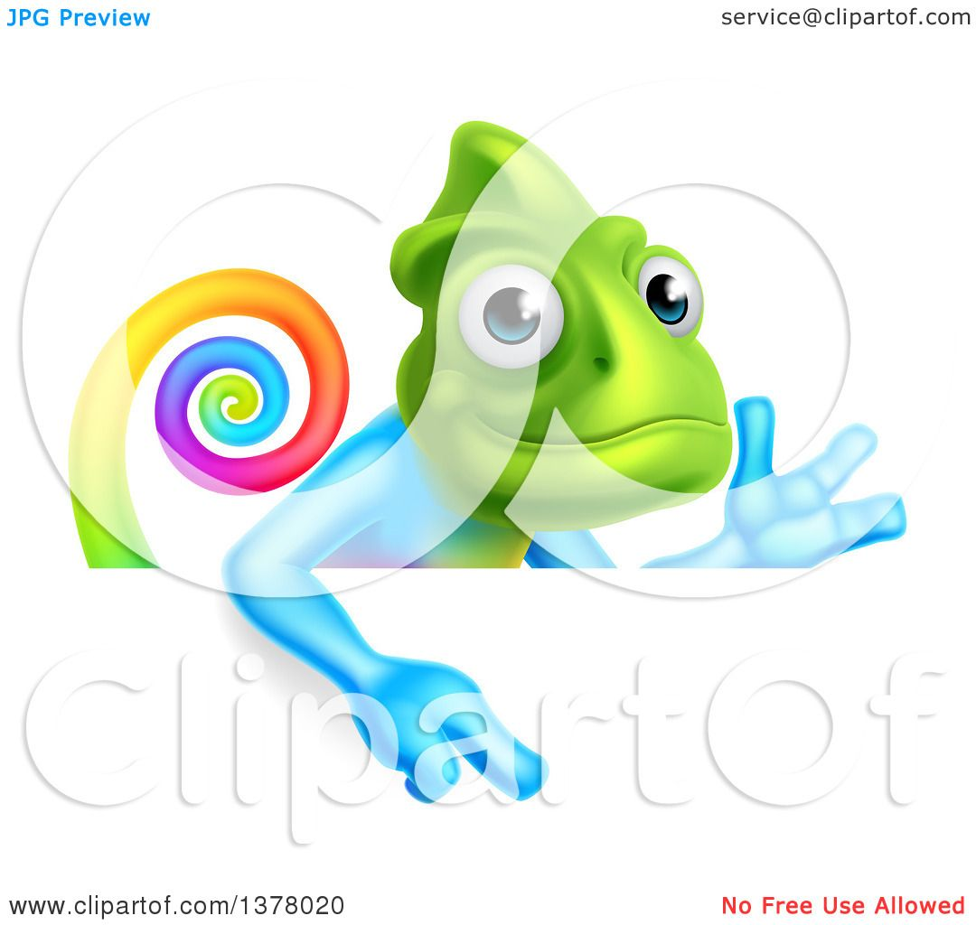 Clipart of a Happy Rainbow Chameleon Lizard Waving or Presenting.