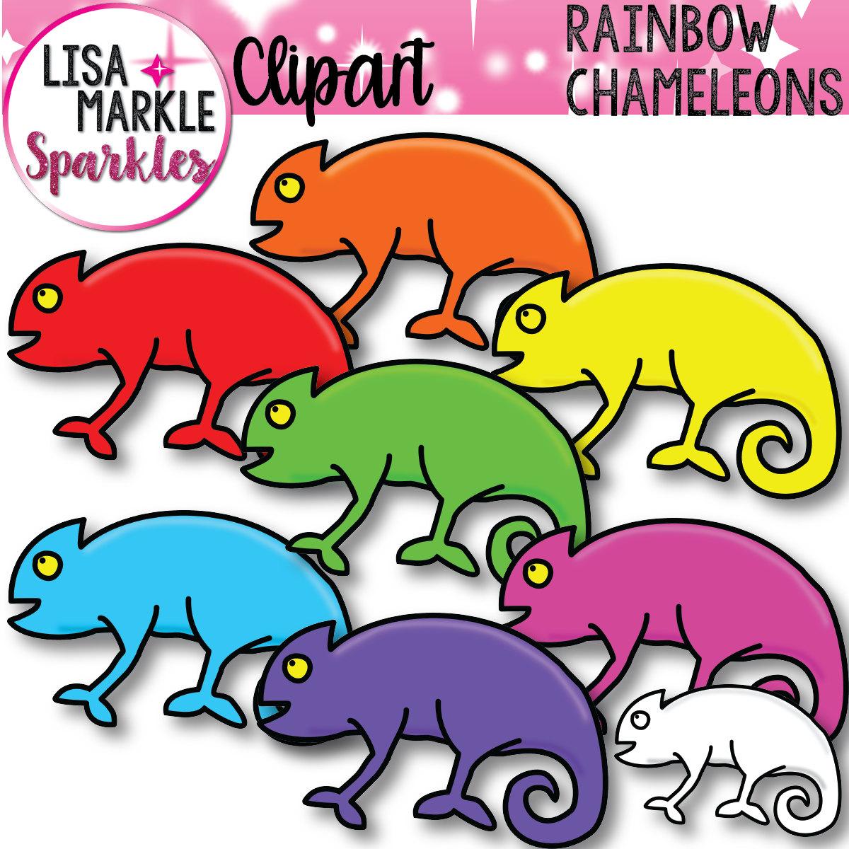 Rainbow Clipart, Chameleons Clipart, Reptile Clipart, Lizard.
