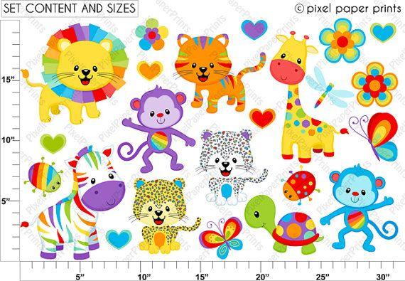 Rainbow Animal Clipart.