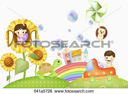 Stock Illustration of children and animals playing in the garden.
