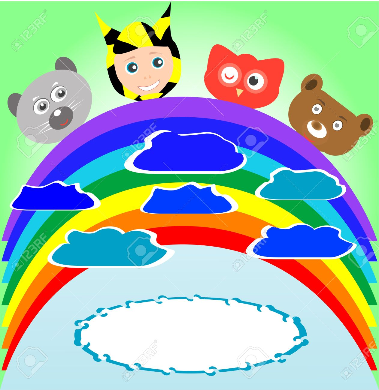 Cute Kid And Smile Animals Viewing Rainbow Royalty Free Cliparts.
