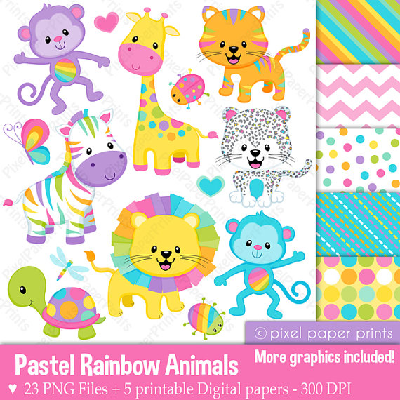 Rainbow Animal Clipart.