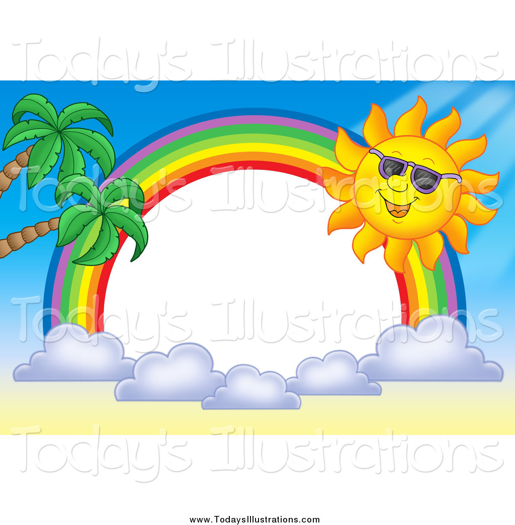 Clipart of a Sun and Rainbow Border by visekart.