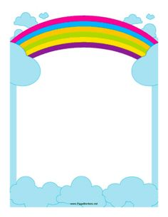 This border includes fluffy white clouds and a pair of colorful.