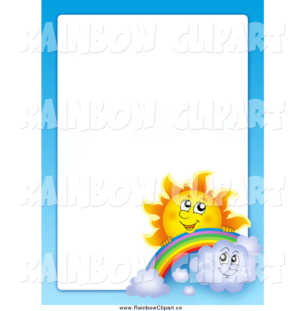 Vector Clip Art of a Sun, Rainbow, Clouds and Sky Border by.