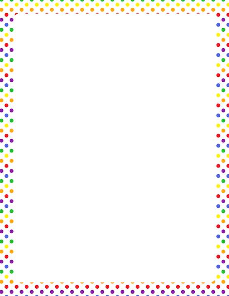 Printable rainbow polka dot border. Free GIF, JPG, PDF, and PNG.