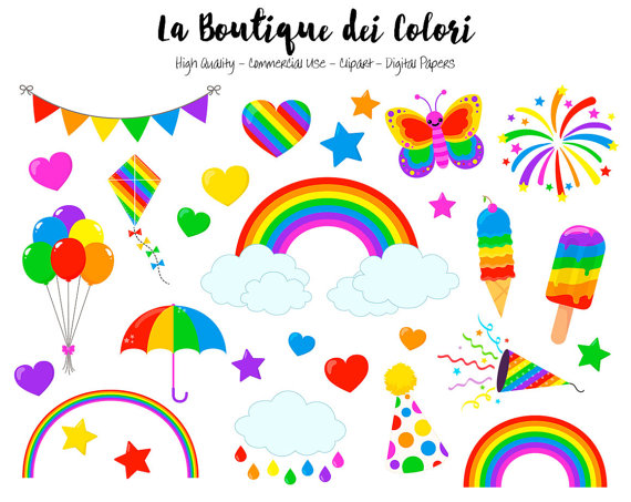 Rainbow Clipart, Cute Graphics PNG, Colorful Rainbow Party Clip.