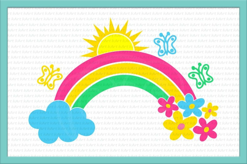 Free rainbow svg, rainbow and cloud svg, rainbow and flowers.