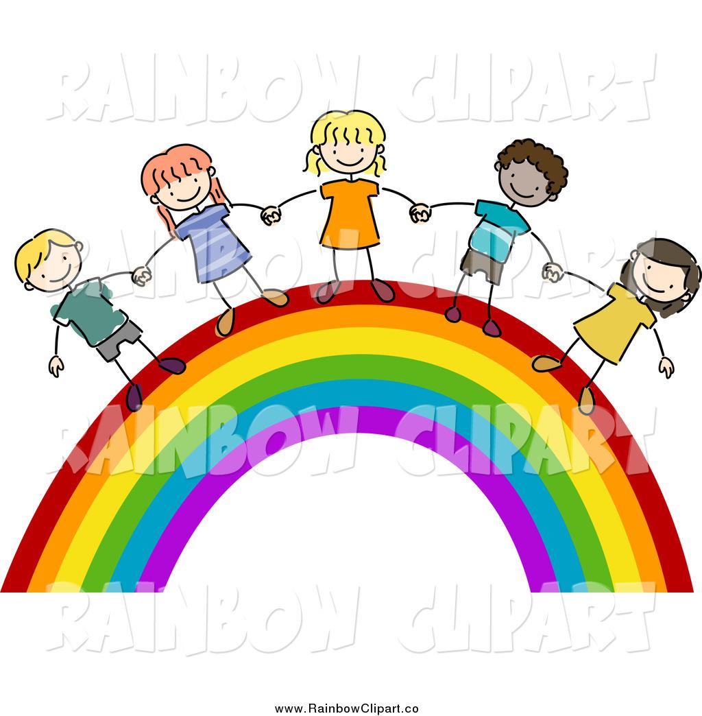 Royalty Free Stock Rainbow Designs of Kids.