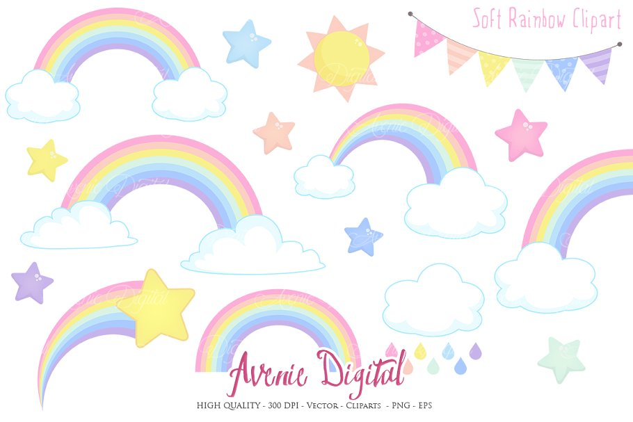Pastel Rainbow Clipart + Vector.
