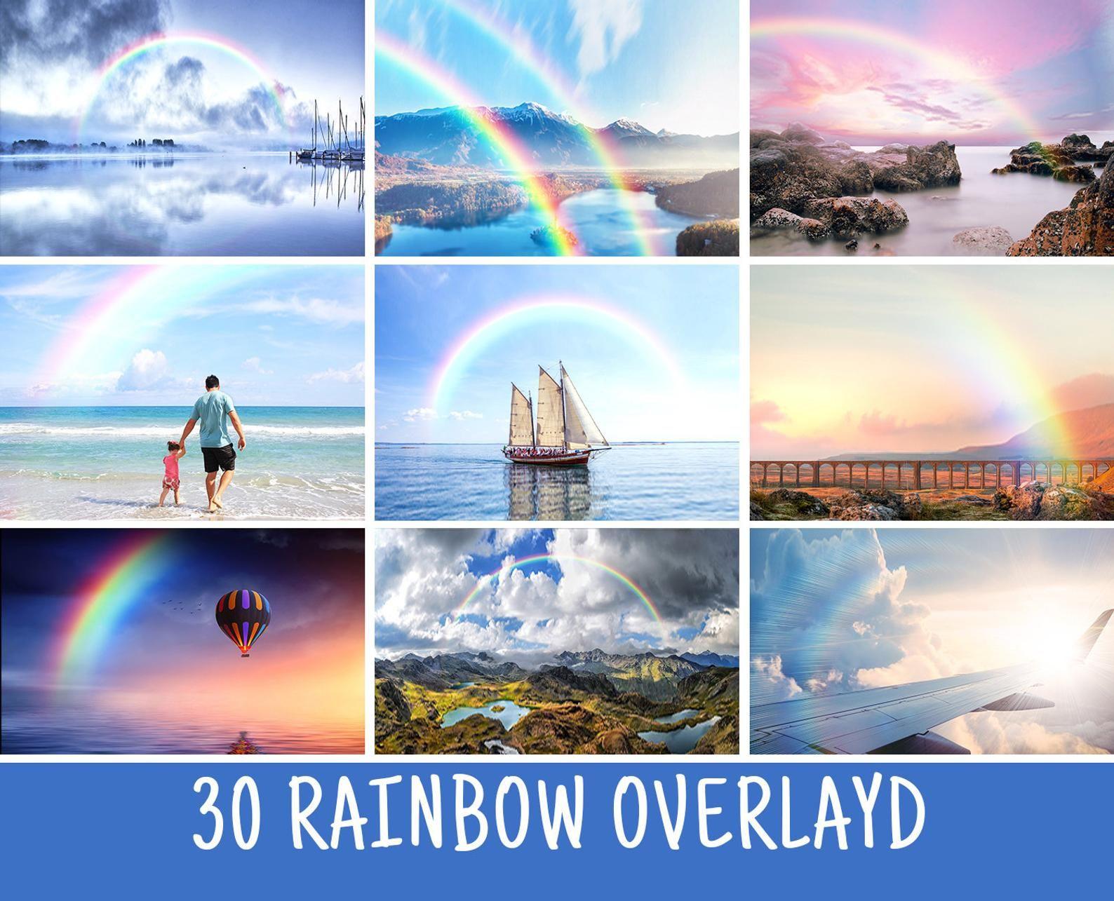 30 Rainbow Photoshop overlays, rainbow clipart, Rainy day.