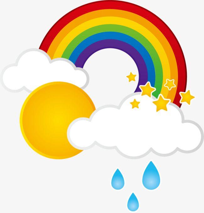Rain Clouds Rainbow Sun, Sun Clipart, Rain Clipart, Sun PNG.