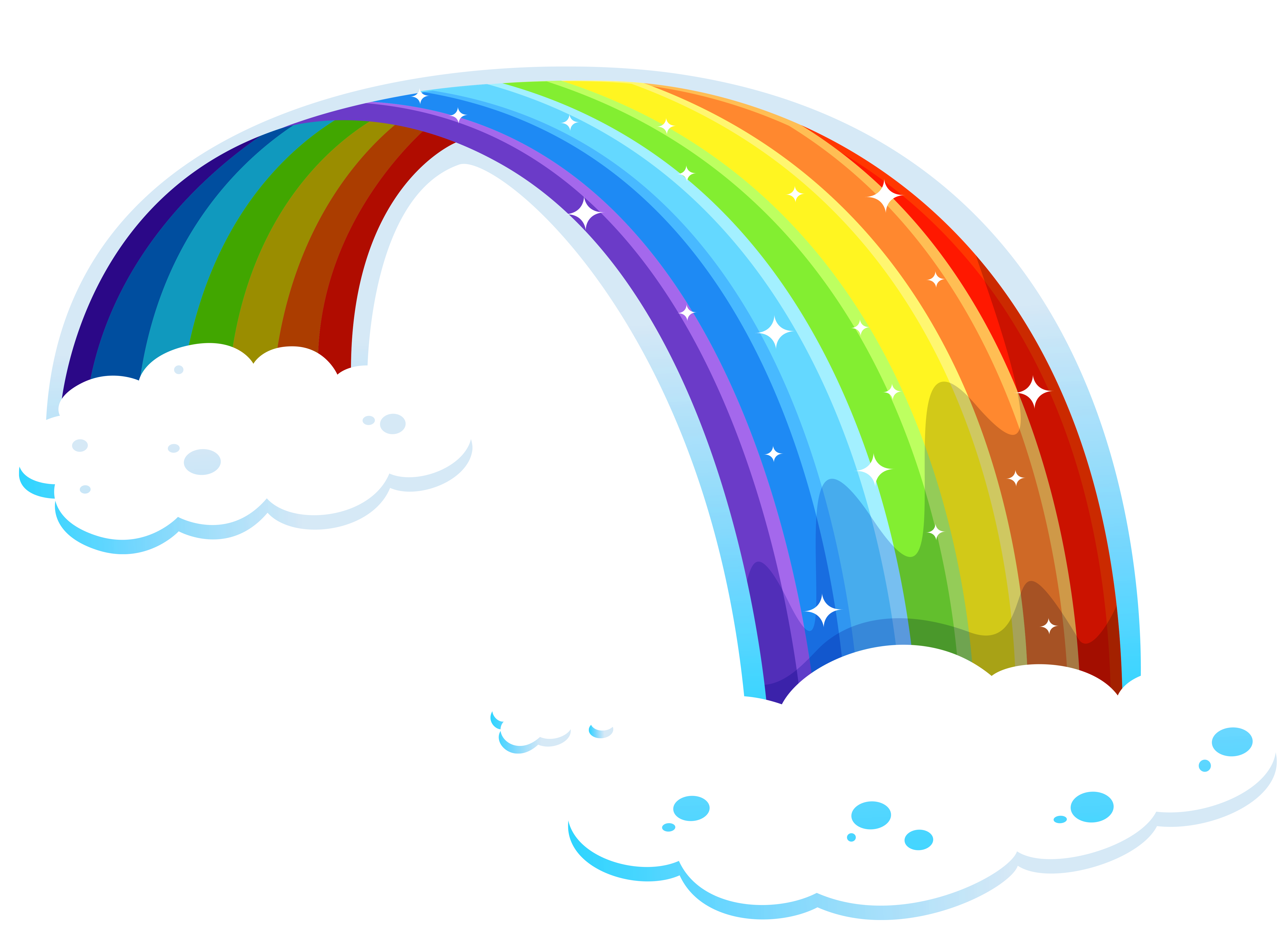 Rainbow with Clouds PNG Clipart.