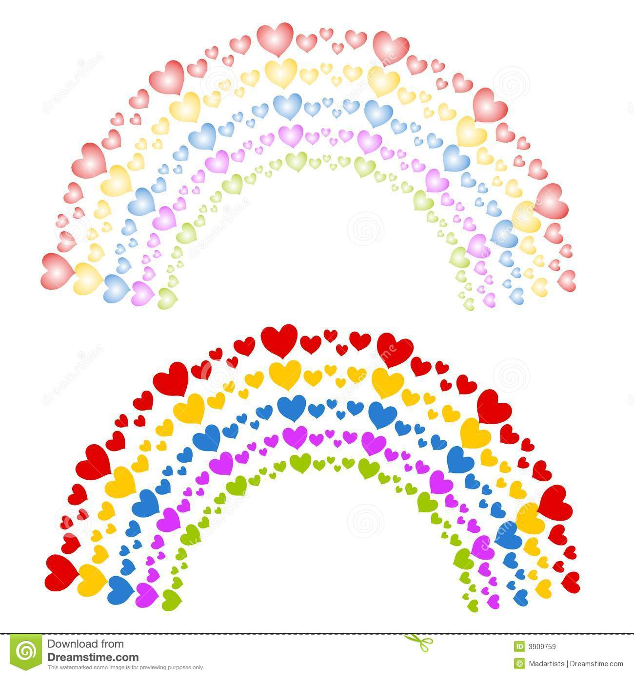 Hearts As Colorful Rainbows Clip Art Royalty Free Stock Images.