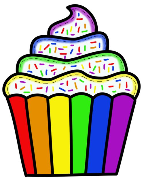 Rainbow Cupcake Clipart.