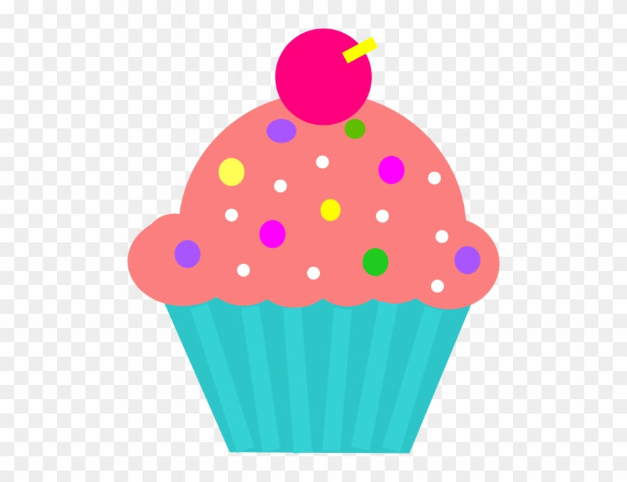 Cupcake Coral & Turquoise Clip Art.
