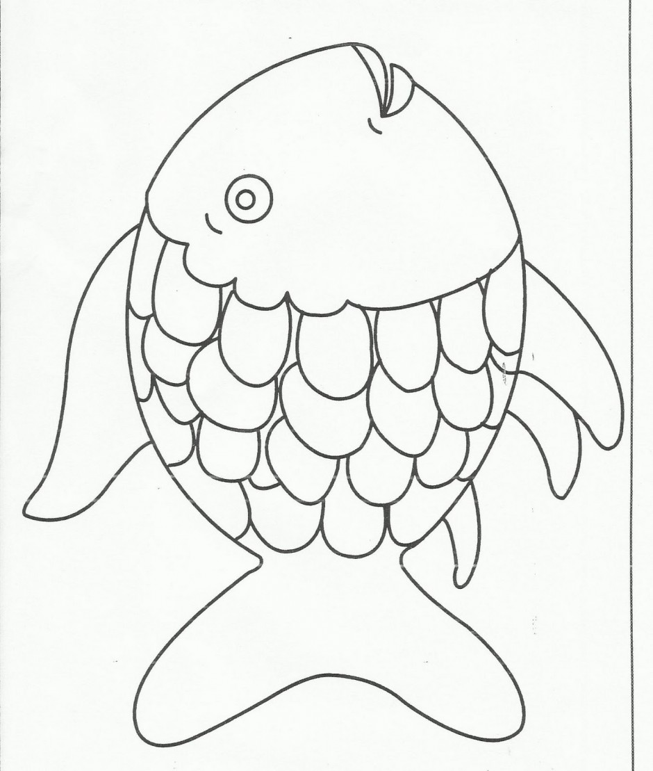 Rainbow Fish Black And White Clipart.