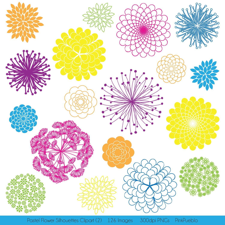 MEGA PACK Rainbow Flower Silhouettes Clipart Clip Art Flower.