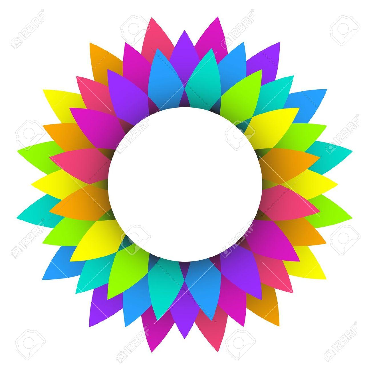 Illustration Of Abstract Rainbow Flower Logo Design Royalty Free.