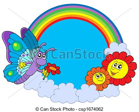 Clip Art of Rainbow circle with butterfly and flowers.