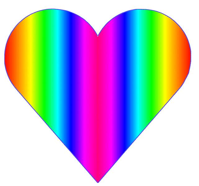 rainbow heart 2, 10cm.