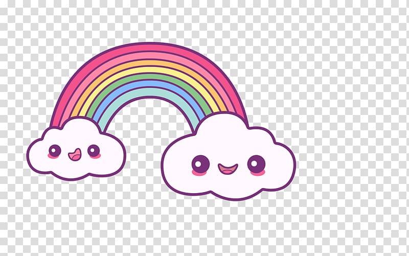 White and pink rainbow illustration, Unicorn Fairy tale Kids.