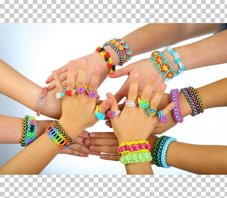 Rainbow Loom Bracelet Rubber Bands Toy Wristband PNG.