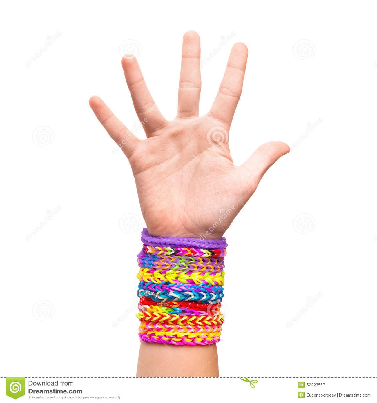 Rainbow Loom Bracelets Stock Photo.