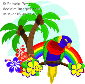 Clip Art Illustration of a Rainbow With a Tropical Parrot.